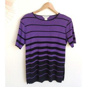 Exclusively Misook Purple Black Stripes Shirt